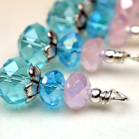 Dangle  Charm Drop Set in Aqua Blue Green and Pink