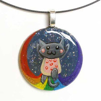Nyan Cat Pendant Necklace Hand Painted Art by rainbowofcrazy