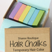 Easter Pastel Shades - Colored Hair Chalks - 6 Pack - Temporary Color Pastel Blue, Green, Yellow, Pink, Purple/Lavender &amp; Aqua