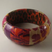 Animal Print Bangle Decoupage Bracelet Glossy by TheSilverFindings
