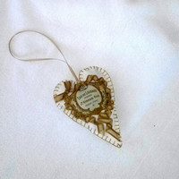 Vintage French Perfume Label Sachet, Heart Shape, Olive Gold, Pink Sugar Fragrance