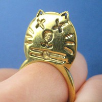 SALE Funny Kitty Cat Animal Ring in Gold - Size 6.5 and 8 ONLY
