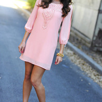 Longing For Lace Dress: Light Coral | Hope's