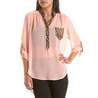 Animal Trim Chiffon Hi-Low Blouse: Charlotte Russe
