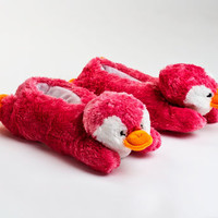 Pink Penguin Slippers | Fuzzy Animal Slippers | BunnySlippers.com