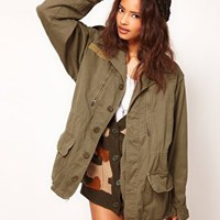 Reclaimed Vintage Army Jacket in Stone Washed Khaki at asos.com