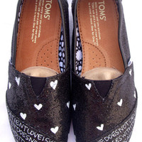 The Juliet - Black and White Glitter Custom TOMS