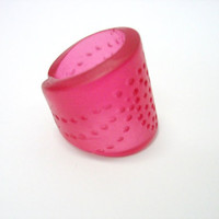 Cherry red spotted cuff resin ring jewelry,  chunky style, woman&#x27;s fashion accessory adjustable