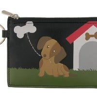 Dog vegan leather emboss coin purse-black - 