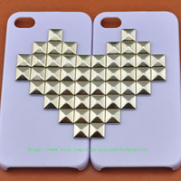 Light purple iPhone 4,iPhone 4s Case Cover with Heart-shaped silver pyramid stud For iPhone 4 Case, iPhone 4S Case  d-11