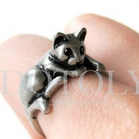 Miniature Kitty Cat Ring in Silver Sizes 5 to 9 available | dotoly - Jewelry on ArtFire