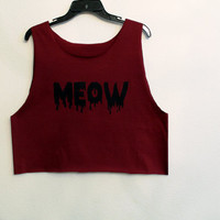 maroon meow cat shirt