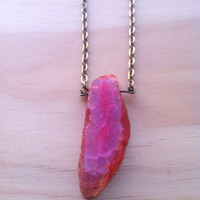Orange Blush Cracked Agate Long Necklace