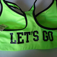 Victoria's Secret M Sports Bra Love Pink Yoga Padded push up Let's Go neon green