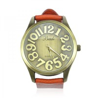 Fashion BIg Face Watch with Cow Leather Belt