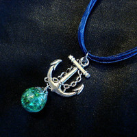 Fried Marble Anchor Charm on Blue Ribbon Necklace by KatieDidsx3