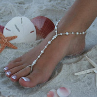 Barefoot Sandal  Simply Elegant  White Pearls by moodyelizabeth