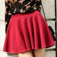 Red High-waist Pleated Skirt RB003