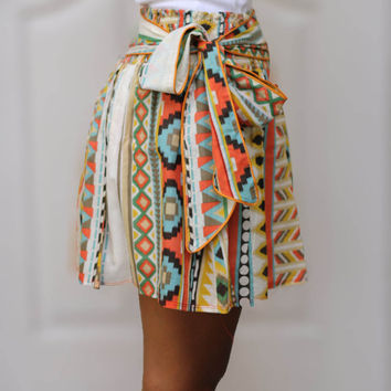 OOAK Colorful Tribal Orange Mini Skirt  Ready to by LoNaDesign
