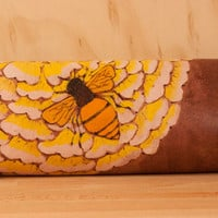 Leather Clutch Purse - Honeybee pattern in orange, yellow, white and antique mahogany