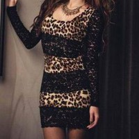 SEXY LEOPARD AND LACE LONG SLEEVE DRESS