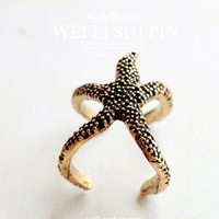 Retro cute starfish ring