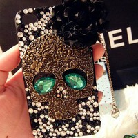 Unique Skull Rhinestone Handmade Case For Iphone 4/4s