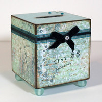 Coin Bank Decoupaged Bank Savings Bank Aqua Shopping by rrizzart