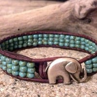 Elephant Leather Wrap Bracelet, GOOD LUCK Elephant, Friendship Bracelet, Southwestern Chic