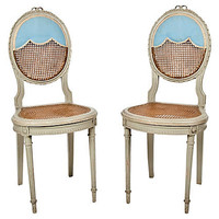 One Kings Lane - Caned Side Chairs, Pair