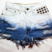 Etsy Transaction -        bleach ombre / Levi's vintage denim / dome studs  destroyed / high waisted shorts
