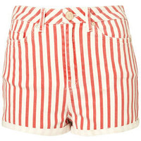 MOTO High Waist Stripe Shorts - 50s Diner  - Designers  Collections  - Topshop