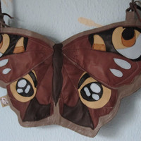 My Love - Butterfly Inachis Io Leather Bag OOAK
