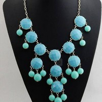 Fresh Green Big Bead Statement Bib Necklace wholesale