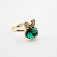Cute Rhinestone Green Bunny Head Finger Ring wholesale