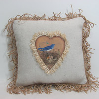 Spring Bird and Nest  Decorative  pillow