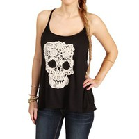 Black Racerback Skull Crochet Top