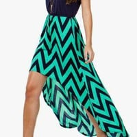 Mint &amp; Navy Chevron Hi/lo Dress