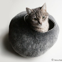 Cat Bed / Cave / House / Vessel - Hand Felted Wool - Warm Gray Stone - Crisp Contemporary Design - READY TO SHIP