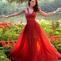 Beautiful a-line red tulle 2013 spring long prom dresses