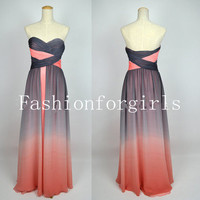A Line Strapless Sweetheart Long Chiffon Prom Dresses from fashionforgirls