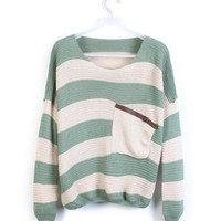 Green White Striped Bat Long Sleeve Sweater