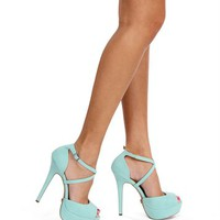 Turquoise Ankle Strap Heels