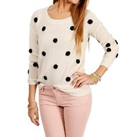 Ivory/Black Polka Dot Sweater