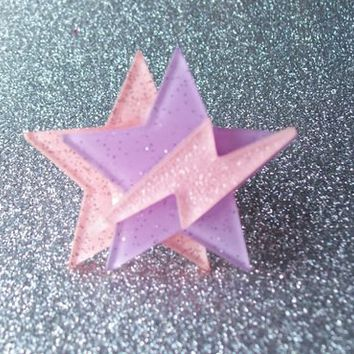 Space Pop - Jem Inspired Glitter Star and Lightning Ring from On Secret Wings