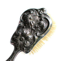 Antique Edwardian Silver Plated Brush - Vintage Derby Silver Co. Pat'd 1904 Lady's Vanity / Art Nouveau Floral