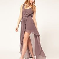 Love | Love Chiffon Wrap Dress with Dip Hem at ASOS