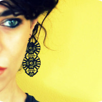 Black Lace Earrings - Lace Jewelry - Lace Fashion, by Atelier Yumi
