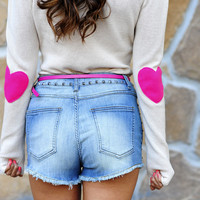 Bottom Of My Heart Sweater: Hot Pink | Hope's