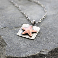 Starfish pendant, copper and silver, Rustic Sea jewelry, Beach jewelry, Gifts for her, Gifts under 45